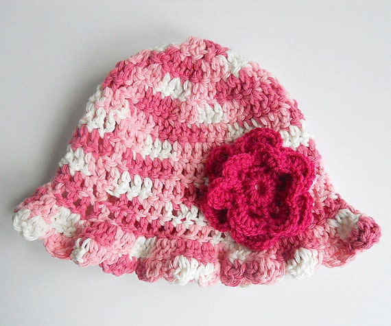 Baby Girl Pink And White  Hat Infant Beanie Summer Cotton Cap Bright  Rose Flower Children 3 To 9 Months  Spring Clothing