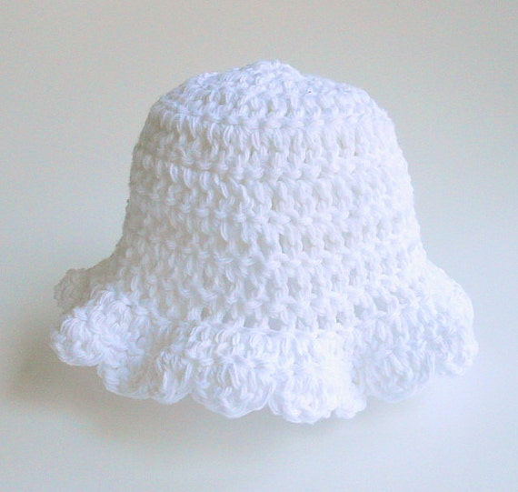 Baby Girl White Hat 3 To 9 Months Infant  Cotton Summer Cap 6 Month Old  Children Spring Clothing  Crochet Lacy Scallop Edge