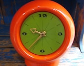 Mod Orange and Retro Green Vintage Art Ceramic Clock Hippie Chic