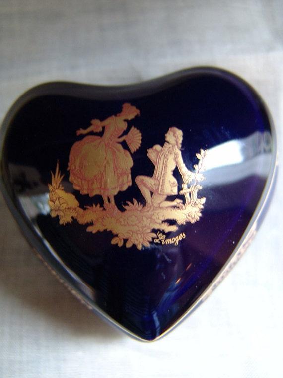 Imperial Limoges Cobalt Blue and Real Gold Heart Shape Trinket Box Fragonard Style Couple