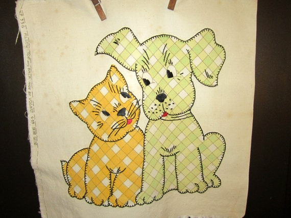 Darling Vintage Embroidered Applique Pillow Top Kitty Puppy 1940's -1950's Made by Vogart Vogue Needlecraft Co