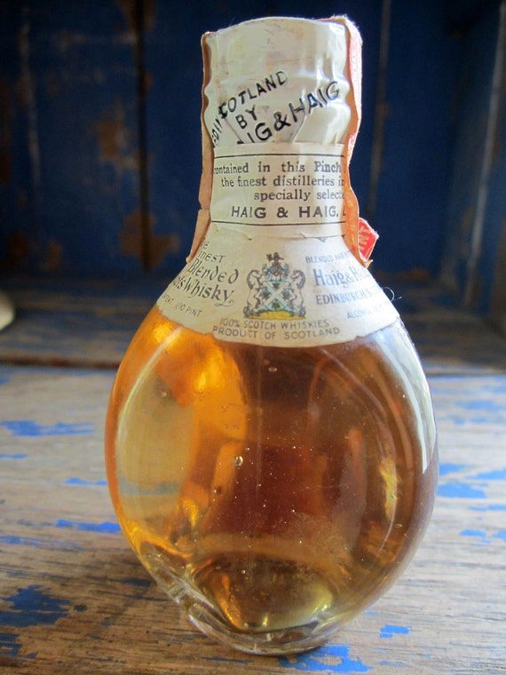 Collectible Haig & Haig Pinch Scotch Whisky Miniature Liquor Glass Bottle.