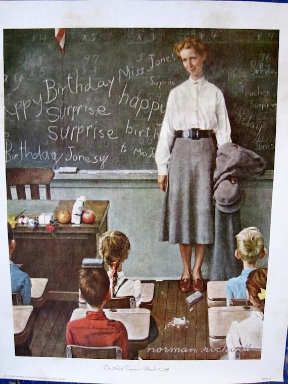 Vintage Norman Rockwell Print on Canvas 1973 The School Teacher