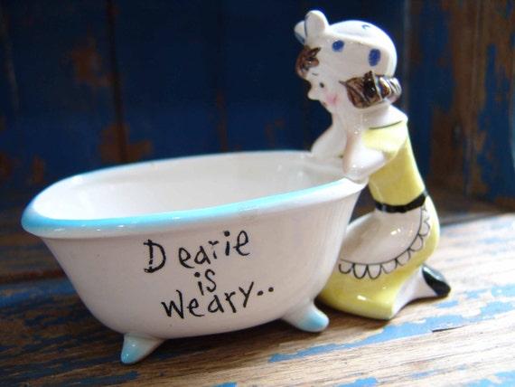 Charming Cute Retro Vintage Dearie is Weary Bathroom Soap Dish, Tolletries Trinket Holder