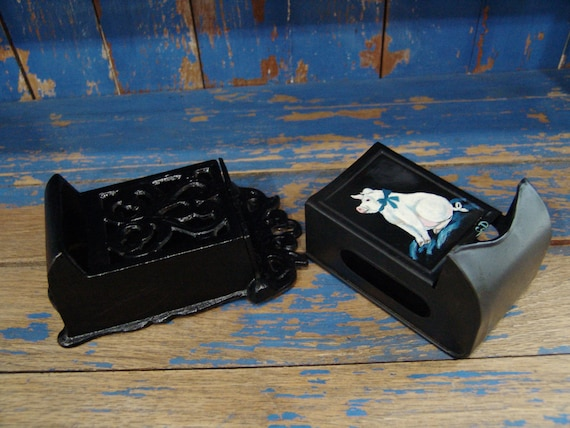 2 Vintage Farm House Country Style Match Box Holders One Cast Iron One Tin with Hand Painted Pig
