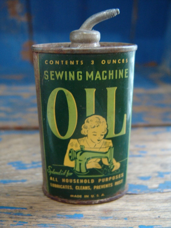 Antique / Vintage Sewing Machine Oil Can Advertising Great Graphics