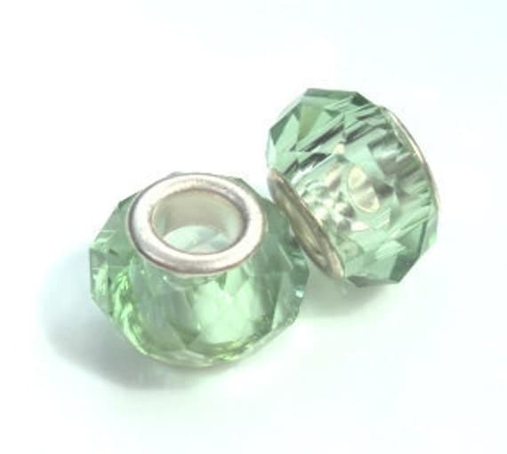 Set of Two - Light Green Glass Lampwork Beads