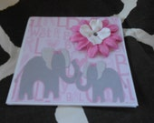 Elephant Couple, baby shower card, baby girl, baby card