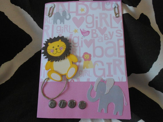 JuNgLe BaBy GiRl, baby shower card, baby girl, baby card