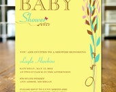 Baby Shower Invitation, Classic Pastel Yellow, Teal, and Pink Leaf Trio 5X7