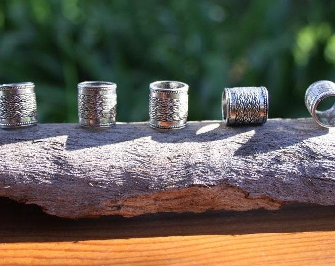 5 Large Hole Tibetan Silver DREADLOCK BEADS 10mm Hole DREAD Hair Beads