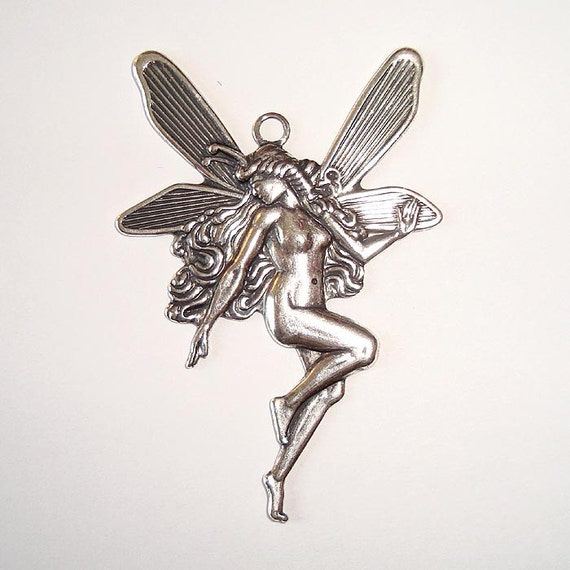 Large Fairy Pendant Antique Silver - 2 Pisces