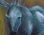 "Lonely Donkey, acrylic on 8""x10"" canvas board"