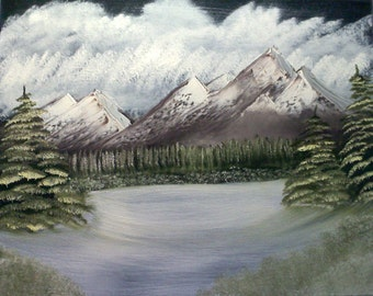 "16 X 20 ""Snowy Meadow Mountain"" landscape oils on black canvas painting."