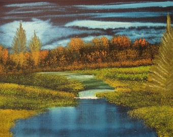 "11 X 14 ""Autumn Twilight"" landscape oils on black canvas painting."