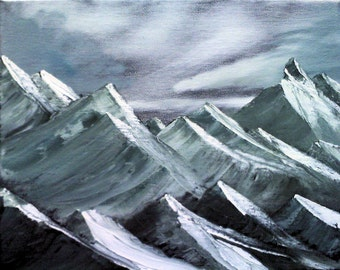 "8 X 10 ""Snowy Mountain Peaks"" landscape oils on black canvas painting."