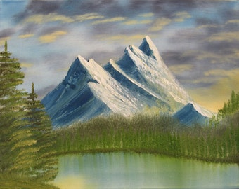 "11 X 14 ""Mountain Lake Afternoon"" landscape oils on canvas painting."