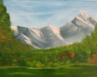 "11 X 14 ""Spring Mountain"" landscape oils on canvas painting."