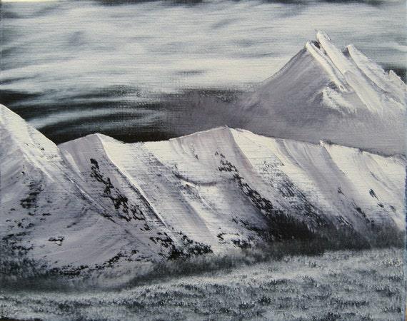 "8 X 10 ""Snowy Mountain Range"" landscape oils on black canvas painting."