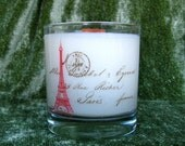 Hand Poured Soy Candle, Eiffel Tower / Lilac, 11 oz