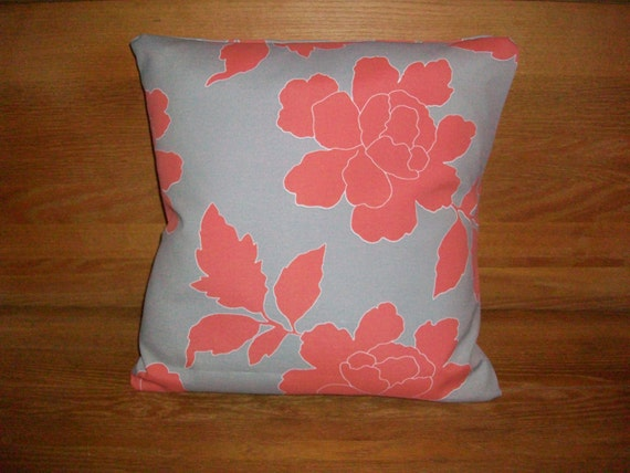Coral and gray pillow cover- Dwell Studio Indoor/Outdoor 16x16