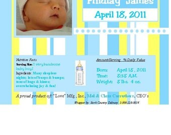 "Personalized Candy Bar Wrapper - ""Baby Photo"" - Baby Announcement"