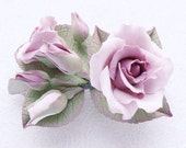 """Polymer clay barrette with soft pink roses with shade of lavender """"Shabby chic"""".Polymer clay jewelry, hair clip, accessories."""