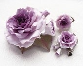 "Made to order. Polymer clay jewelry set purple rose"" Blueberry Mousse"". Clay flowers barrette, ring, hair clip."