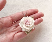 "Polymer clay white rose pendant ""Beautiful Lady"". Polymer clay jewelry."