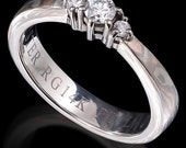 Tri color Mokume Gane Engagement Ring with Diamonds