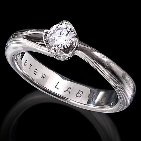 White Gold Mokume Gane Engagement Ring with Diamond - Bridal - Mokume gane grey layered gold Rings