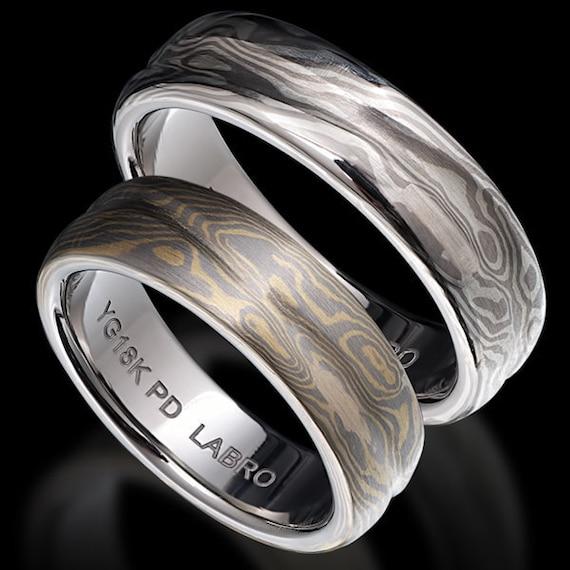 mokume gane wedding bands set by mokumeganejewelry on etsy