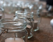 Upcycled Glass Jars With Handle Tea Light Candle Holder Rustic Wedding