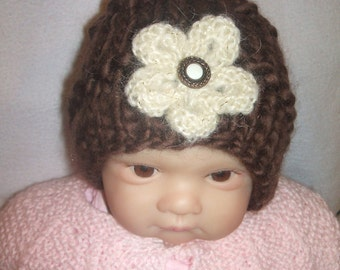 so soft brown hand knitted baby hat with flower newborn