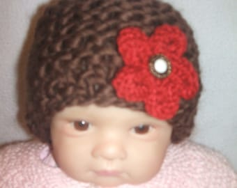 hand knitted baby girl hat, hand knit baby girl cap with red  flower newborn