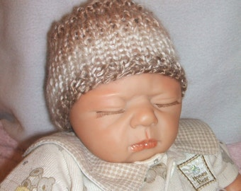 hand knitted baby boy hat, hand knit baby cap, brown and cream hat small newborn