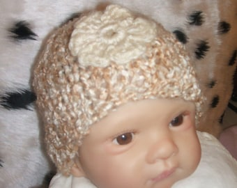sweet little silky look  hand knitted baby hat cream and beige mix newborn