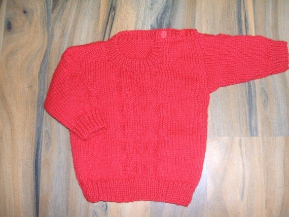 sweet little hand knitted soft baby jumper red 6-9 month