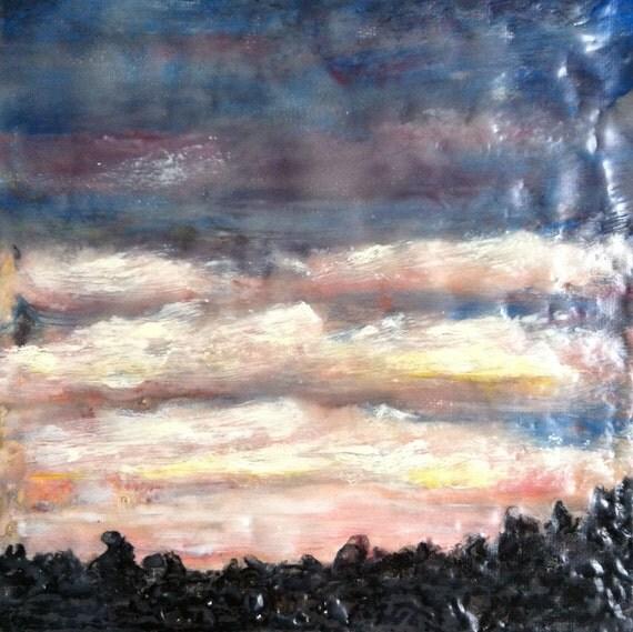 winter sunrise - 6x6 Original encaustic