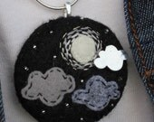 Moon and Clouds - Needle felt Pendant with Hand Embroidery