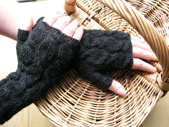 Charcoal knitted fingerless gloves / wrist warmers