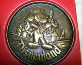 Disney Disneyworld Mickey Mouse Brass Colored Coaster Set