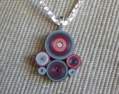 Cherry toned quilled paper pendant