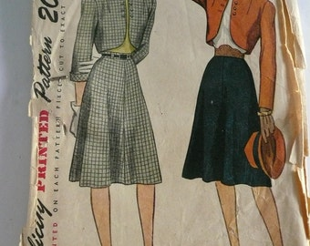 Antique Simplicity Pattern 1741  Bolero Suit  Misses Size12