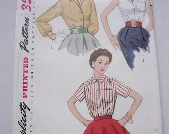 Vintage Simplicity Pattern 4256 Classic Button Front Blouse Junior Size 11