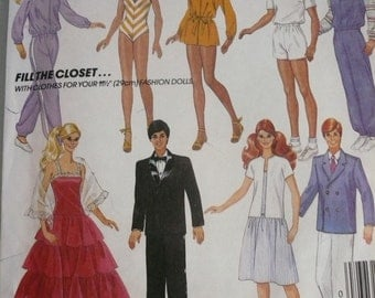 Vintage McCalls Pattern 9316 Clothes for your 11 1/2 Inch Fashion Doll  Factory Fold