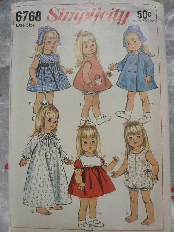 Vintage Simplicity Pattern 6768 Wardrobe for 18 Inch Dolls Such as Susie Sunshine  Baby First Step and  Goody Two Shoes