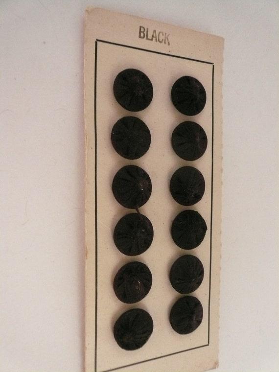 Vintage 10mm Black Silk Covered Snaps  NOS