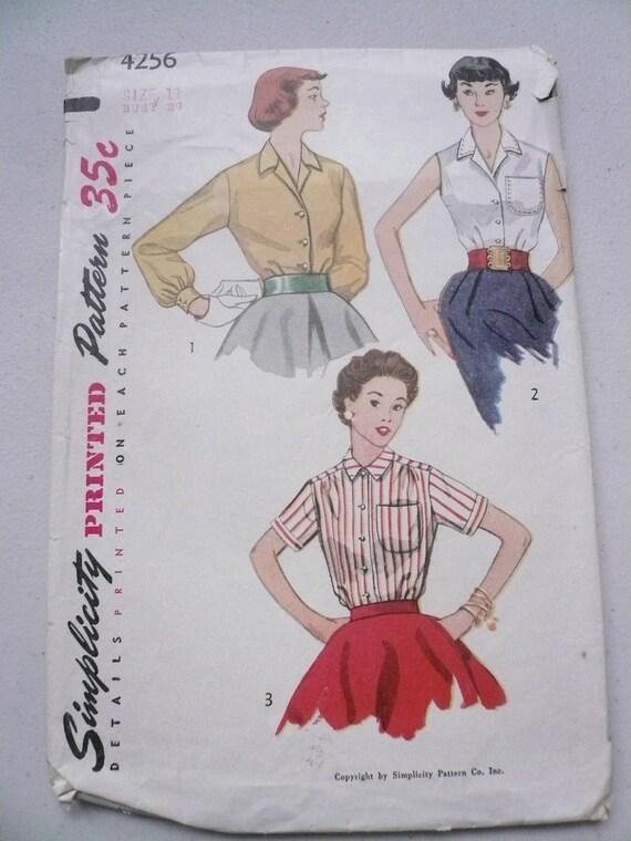 Vintage Simplicity Pattern 4256 Classic Button Front Blouse Junior Size 11