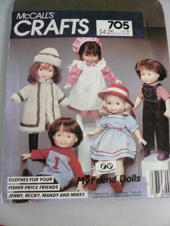 Vintage McCalls Pattern 705 Clothes for 16 Inch Fisher Price My Friends Dolls